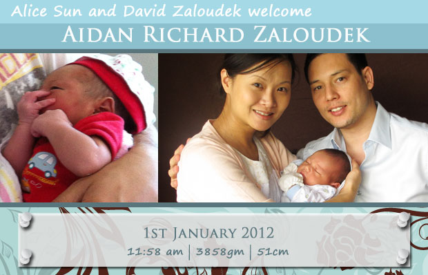 Welcome baby Aidan - birth announcement