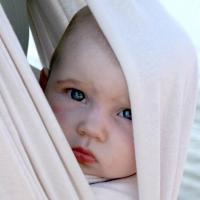 Baby peering out of sling