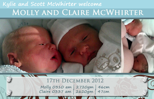 Welcome babies Molly and Claire - birth announcement